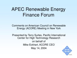 APEC Renewable Energy Finance Forum