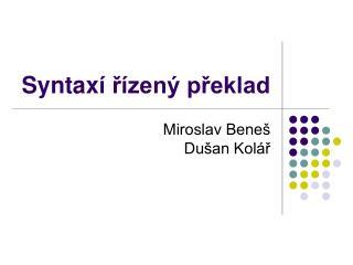 Syntax í řízený překlad