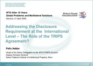 Felix Addor Head of the Swiss Delegation to the WTO/TRIPS-Council Deputy Director General