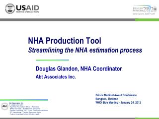 NHA Production Tool Streamlining the NHA estimation process
