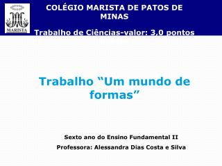 COLÉGIO MARISTA DE PATOS DE MINAS Trabalho de Ciências-valor: 3,0 pontos pontos