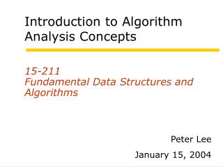 Introduction to Algorithm Analysis Concepts