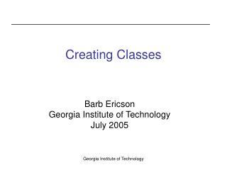 Creating Classes