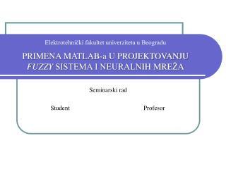 Seminarski rad               Student                                               Profesor