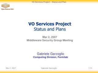 VO Services Project  Status and Plans
