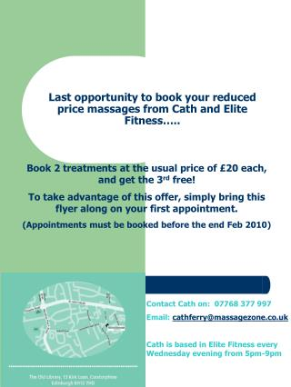 Last opportunity to book your reduced price massages from Cath and Elite Fitness…..