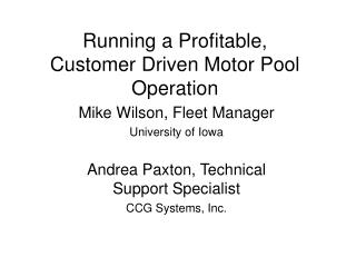 Running a Profitable, Customer Driven Motor Pool Operation