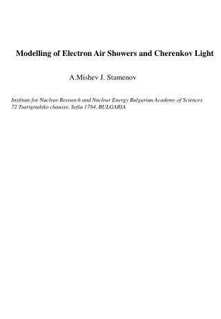 Modelling of Electron Air Showers and Cherenkov Light