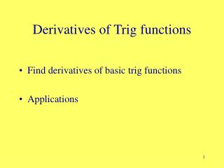 Derivatives of Trig functions