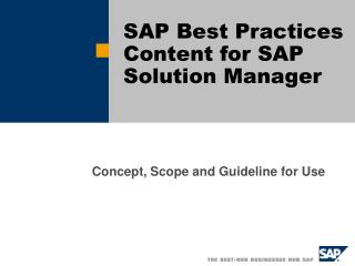 SAP Best Practices Content for SAP Solution Manager