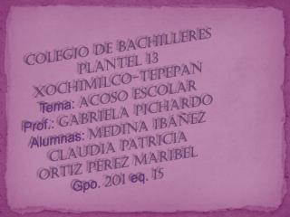 Colegio de bachilleres plantel 13 XOCHIMILCO-TEPEPAN Tema:  acoso escolar
