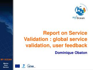 Report on Service Validation : global service validation, user feedback Dominique Obaton