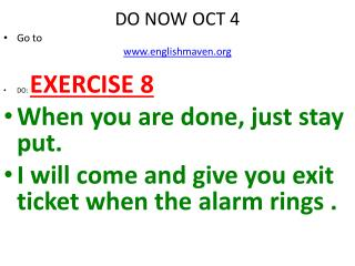 DO NOW OCT 4