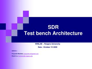 SDR  Test bench Architecture