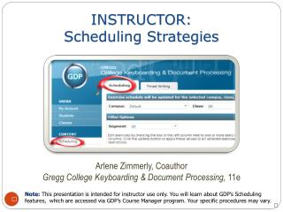 INSTRUCTOR:  Scheduling Strategies