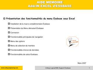 Présentation des fonctionnalités du menu Essbase sous Excel