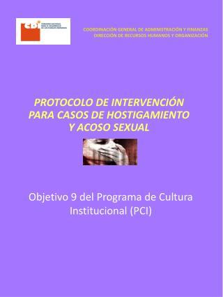 Objetivo 9 del Programa de Cultura Institucional (PCI)