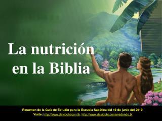 La nutrici�n en la Biblia