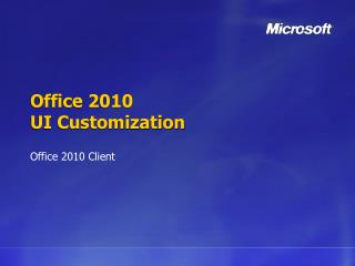 Office 2010 UI Customization