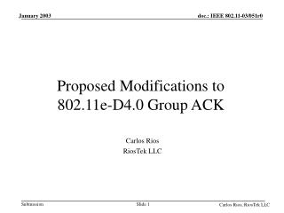 Proposed Modifications to  802.11e-D4.0 Group ACK
