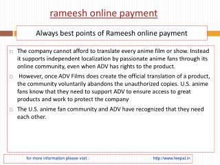 What are the guidelines for the rameesh online payment