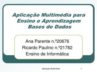 Aplicação Multimédia para Ensino e Aprendizagem  Bases de Dados