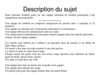 Description du sujet