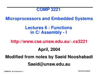 April, 2004 Modified from notes by Saeid Nooshabadi Saeid@unsw.au