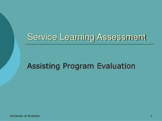 Service Learning Assessment
