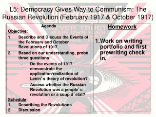 L5: Democracy Gives Way to Communism: The Russian Revolution (February 1917 & October 1917)