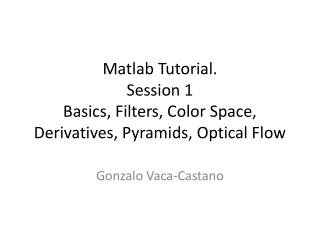 Matlab  Tutorial. Session 1 Basics, Filters, Color Space, Derivatives, Pyramids, Optical Flow
