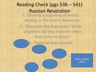 Reading Check (pgs 536 – 541) Russian Revolution