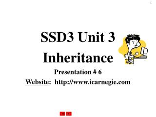 SSD3 Unit 3 Inheritance Presentation # 6 Website :  icarnegie