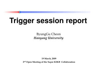 Trigger session report