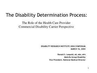 The Disability Determination Process: