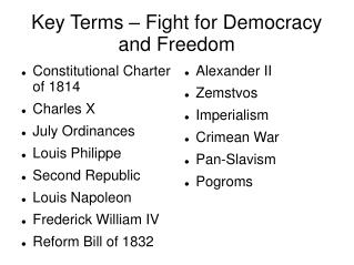 Key Terms – Fight for Democracy and Freedom