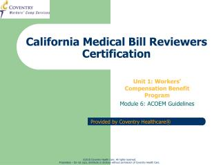 California Medical Bill Reviewers Certification