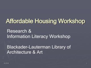 Affordable Housing Workshop