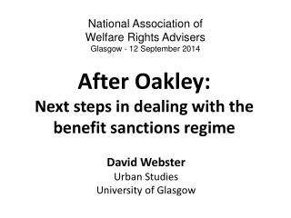 After Oakley: Next steps in dealing with the benefit sanctions regime