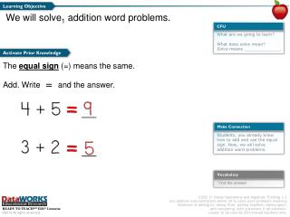 We will solve 1  addition word problems.