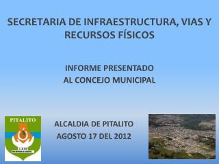 SECRETARIA DE INFRAESTRUCTURA, VIAS Y RECURSOS FÍSICOS