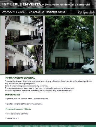 INMUEBLE EN VENTA –  Desarrollo residencial o comercial