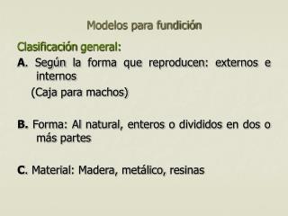 Modelos para fundición