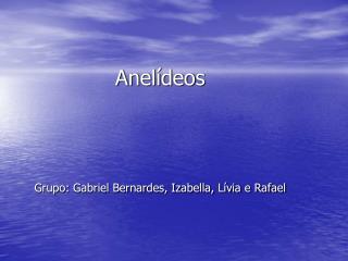 Anelídeos Grupo: Gabriel Bernardes, Izabella, Lívia e Rafael