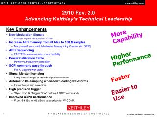 2910 Rev. 2.0 Advancing Keithley's Technical Leadership
