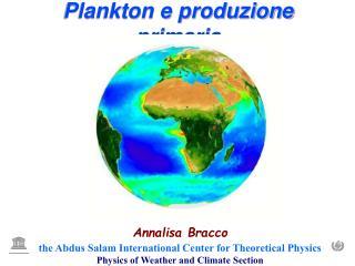 Plankton e produzione primaria