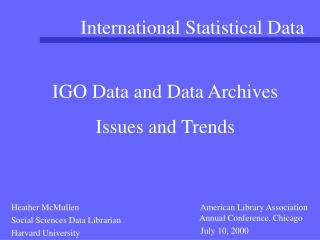 International Statistical Data