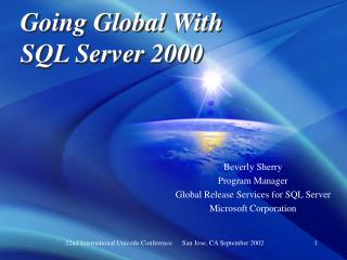 Going Global With SQL Server 2000