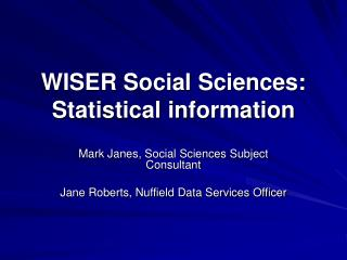 WISER Social Sciences: Statistical information