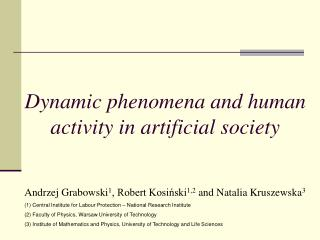 Dynamic phenomena and human activity in artificial society